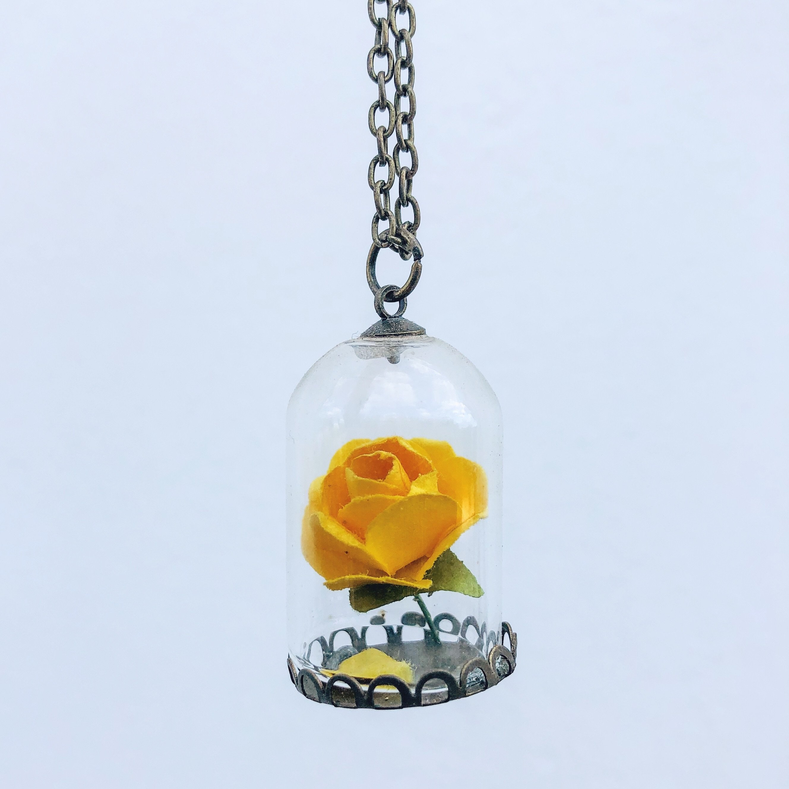 Beauty and the Beast Rose Pendant Necklace