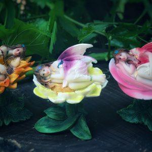 Fairies sleeping on flowers