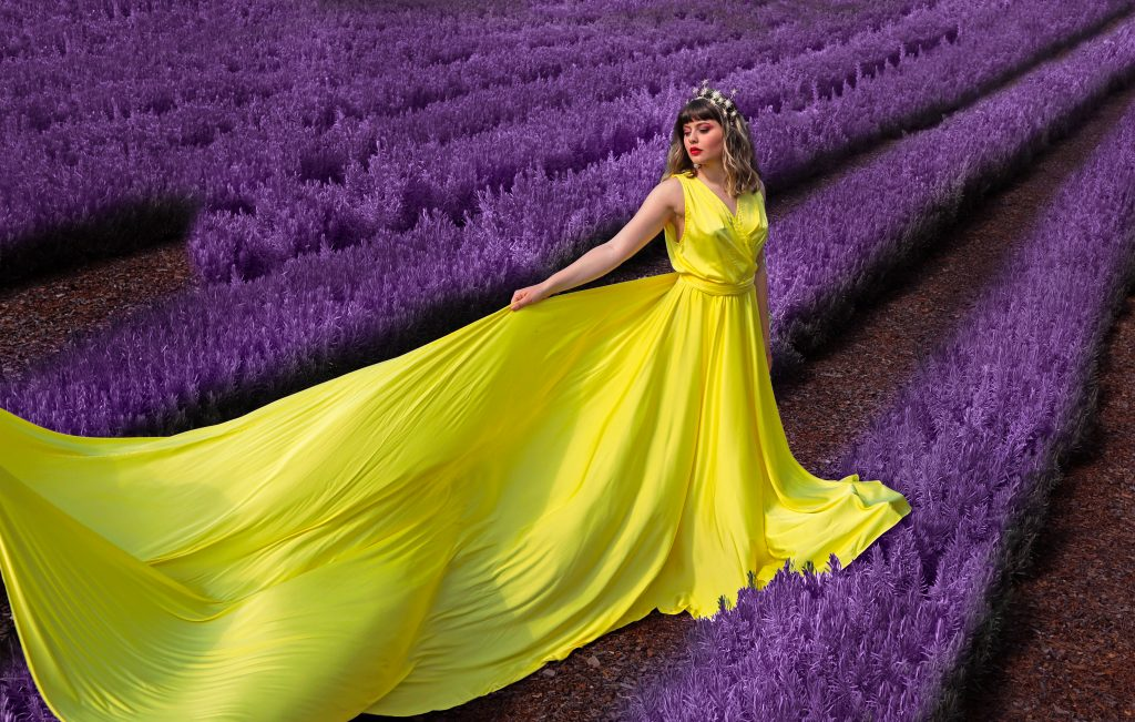 Lady wearing the best yellow dress at Cyherbia Lavender Festival
