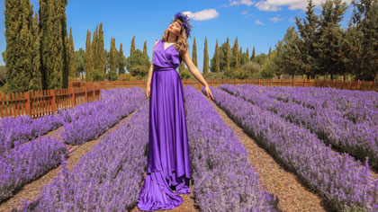 ladie with purple dress at Cyherbia Lavender Festival 2020 Cyherbia Cyprus
